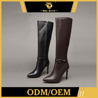 Direct Factory Price Genuine Leather Shoes High Thigh Boots Heels Womens Winter Leather