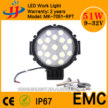 Hot sale 4x4 led work light 7inch good quality 51w for offroad jeep accessories