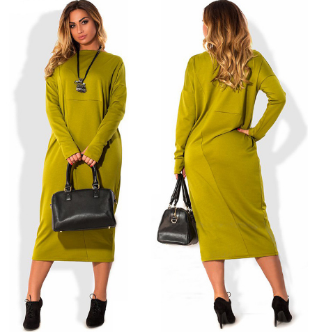 2017 Plus Size Autumn Winter Fashion Women Clothing Casual O-Neck Bodycon Long Sleeve Office Dress Vestidos abaya