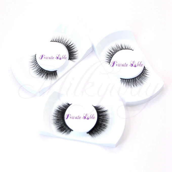 New natural style mink eyelashes handmade mink fur lashes with custom eyelash packaging