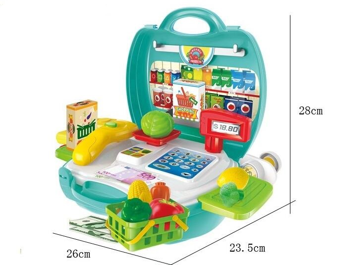 Pretend Plastic Fruits Supermarket 23PCS Food Toy Play Set with Suitcase