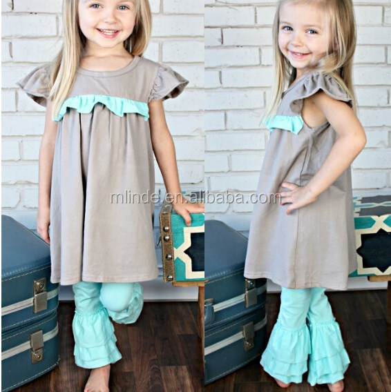 wholesale kids outfit Aqua Ruffled Pants Triple layered leggings cotton knit outfit for kids outfit set designs