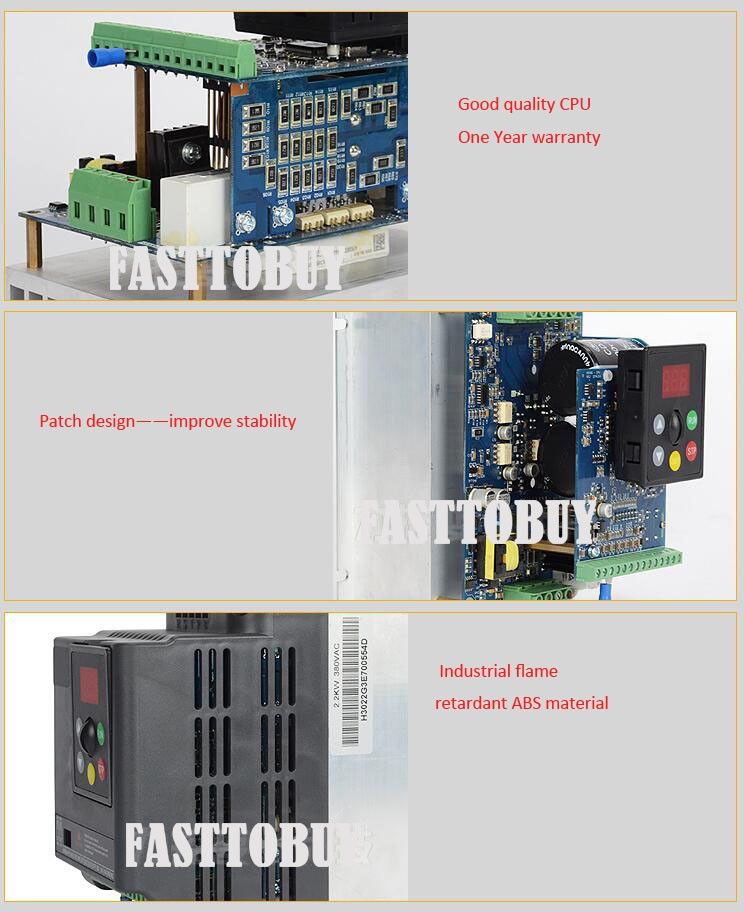 2HP 4.1A 500Hz 3 Phase 1.5kw Variable Frequency Drive VFD for Lathe 3 Phase Asynchronous Motor