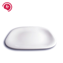 high quantity white plastic melamine square <strong>flat</strong> dinner plate dish for hotel used with round edge