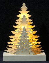 wooden three trees shaped led table christmas decoration
