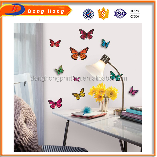 Custom laminated paper sticker, butterfly wall sticker and home button sticker for iphone