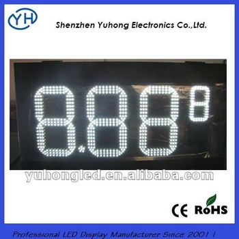 "CE&Rohs 12"" 8.889 White led gas price display from Shenzhen"