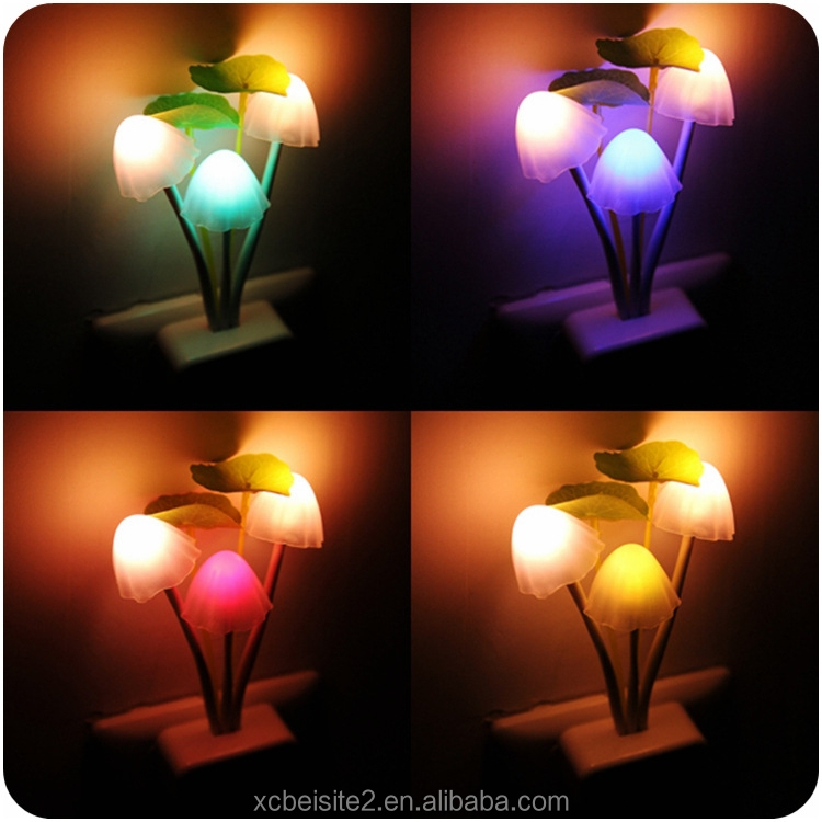 J490 Colorful Mushroom Wall Plug LED Night Light Kid's room Night Lamp