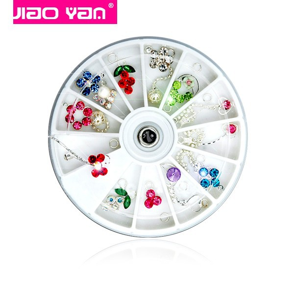 Wholesale 12 styles alloy finger nail dangles 3d nail art charms in wheel #1127
