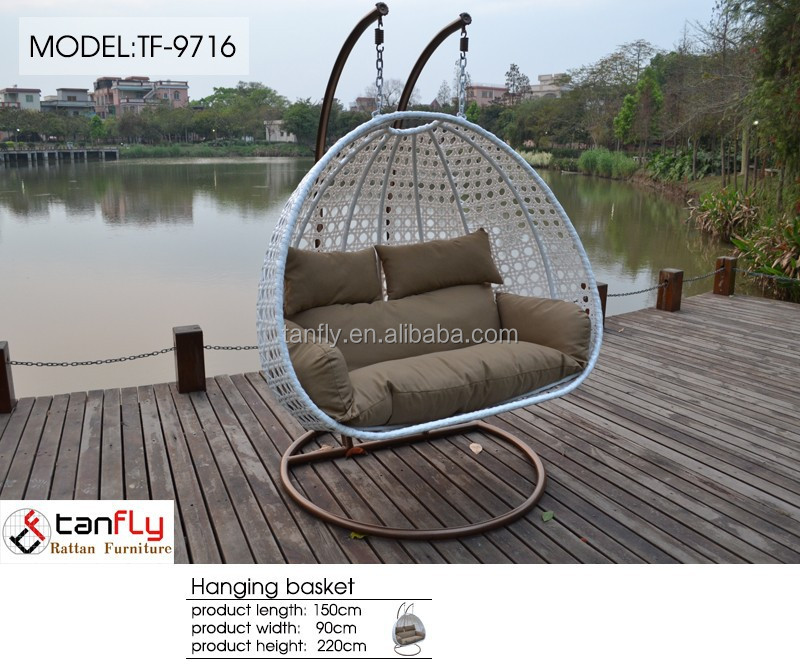 Patio swing hammock two seater swing chair with double hanging chain.