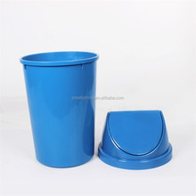 New popular 50liter round bin with swing lid high quality round plastic waste bin lid