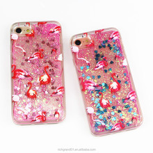 Colorful Flamingos Love Heart Glitter Dynamic Quicksand Liquid phone case For iphone X 8 8plus 7plus 6 6s