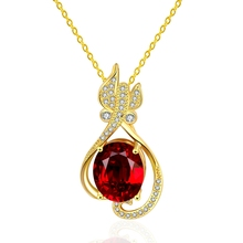 New Fashion New Design Indian Ruby Stone Platinum Plated Copper Necklace