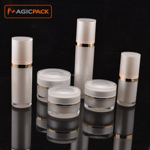 Round luxury gold double wall cosmetic serum bottle airless spray bottle