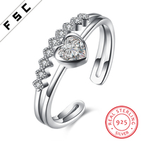 Heart Shaped Pure Silver White Gold Plated Zircon Finger Rings Designs for Girls