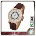 new fashion adjust size rose gold watch leather strap good movement50m waterproof