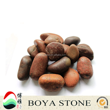 red natural polished pebbles for decoration, paving stones, river rock for wholesale