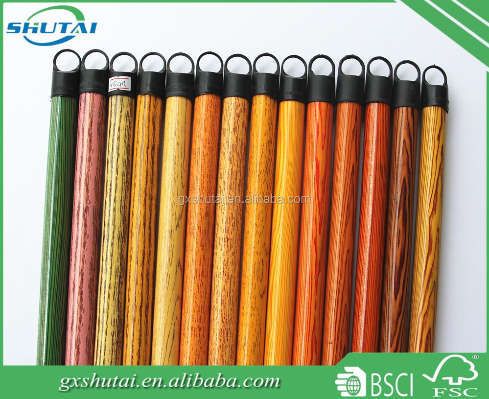 broom manufacturer long stick yellow color wood broom handle Nanning city with wholesale price