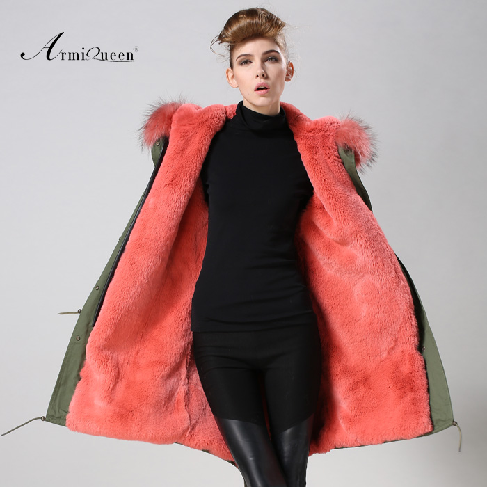 Domeir Watermelon Red Fur Parka Ladies Favouite Color Long Down furJacket