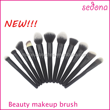 Sedona all black rubber handle makeup brush set,cosmetic brush with a rough/crinkle handle,black color make up brush
