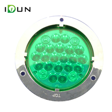 4 Inch Round Green LED Stop Turn Tail Lights Decorative Lamp for Truck Trailer RV Boat 24 Piranha Chips
