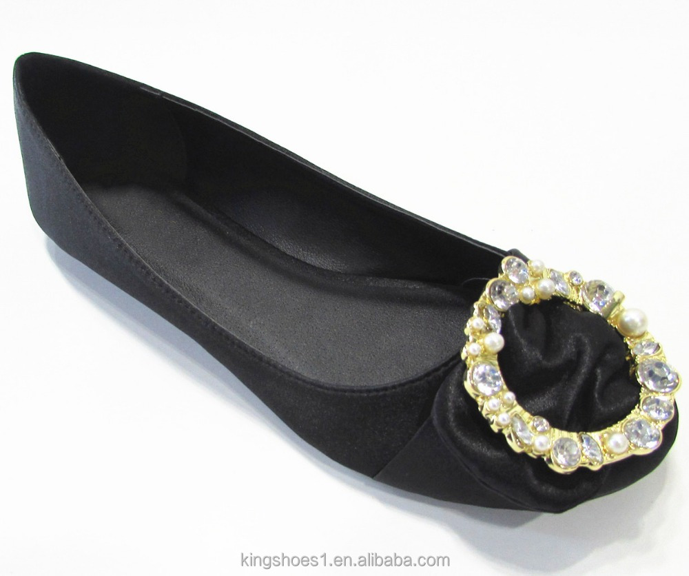 Sexy elegant flat women shoes crystal and pearl buckle ornament satin bridal wedding shoe