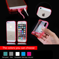 pc tpu case for apple iPhone5 5S, transparent cover case for iphone5 with cable and earphone plug