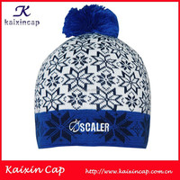 2016 bule design football sport cap custom jacquard weave shine stone pattern logo knit cap High quality promotation beanie hat