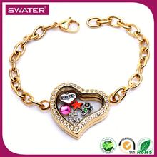 Custom Gold Floating Stainless Steel Locket Bracelet
