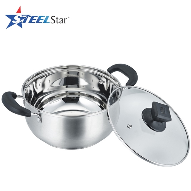 Bakelite handle stainless steel casserole with tempered glass lid