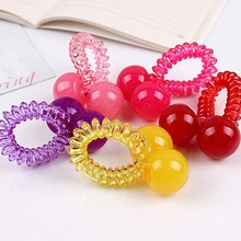 Fashion clear telephone wire coil hair band with ball