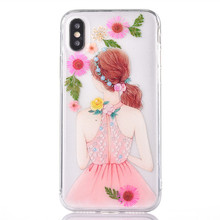 Real Floral Girl Back Silicone Mobile Cover Case for iPhone 10 for iPhone X Cell Phone Case