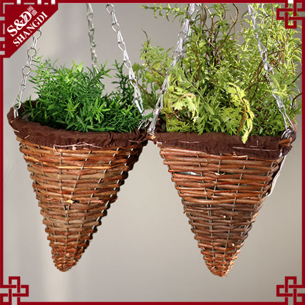 Natural wicker rustic Cone Shaped Hanging Basket with Wire Hanger