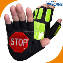 Fingerless Reflective Tape Police Control Hand Protection Traffic Safety Gloves