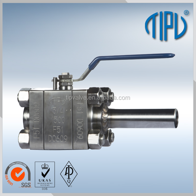 Lever Operate Forge Steel Float Ball Valve With Nipple