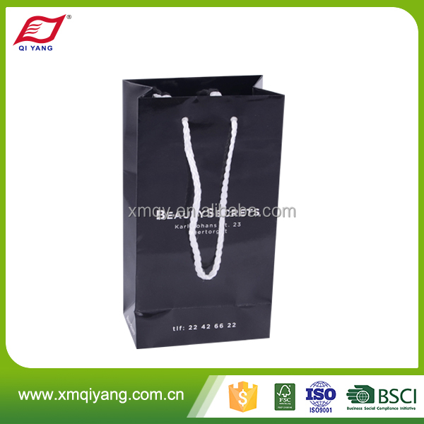 Recycled luxury promotional black paper glass wine packaging gift bags