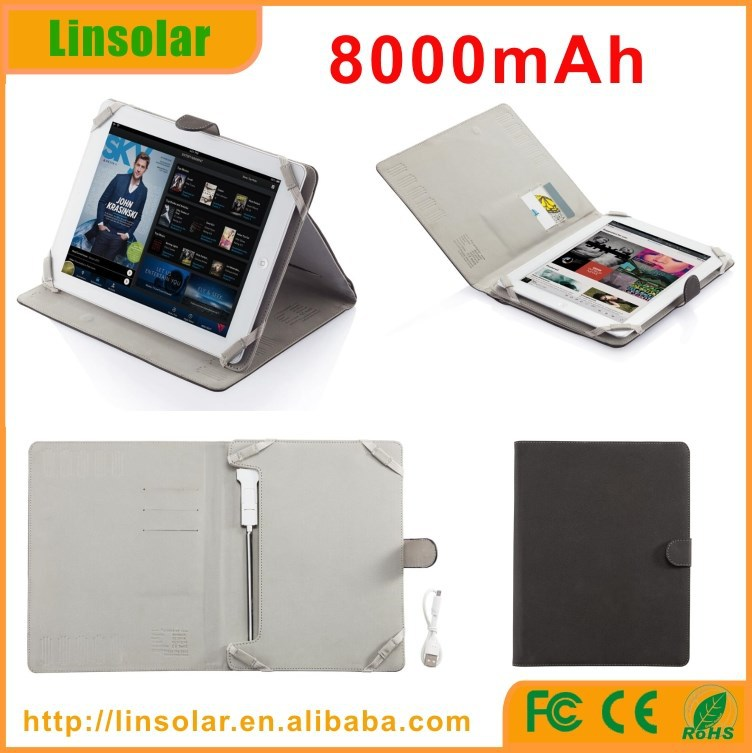 for ipad and android tablet, 8000mAh built-in lighting cable tablet Leather Flip Case Tablet Battery Cover