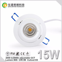 CCT 2000-3000k super warm 15w led downlight with 5 seconds junction box 83mm cut hole 0-100% dimming