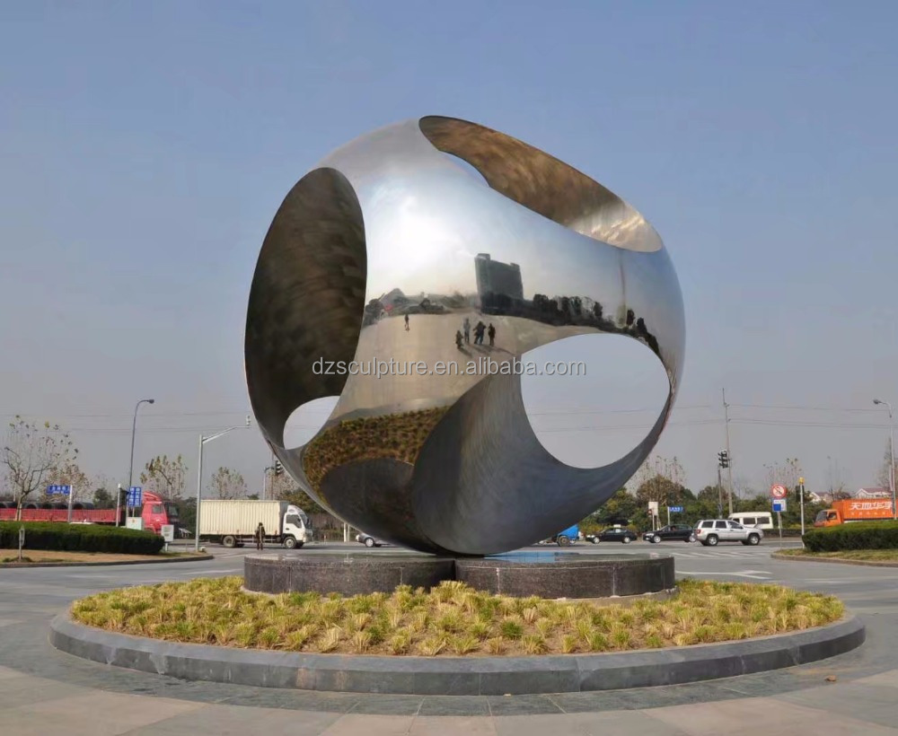 Stainless Steel Urban Popular Large Rolling Ball Sculpture