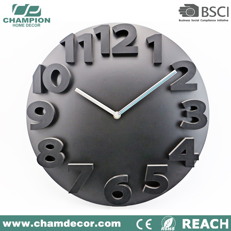 Latest christmas plastic wall clock number , wall art decoration plastic clock dome