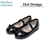 China child shoes factory kids girls leather black and red school shoes