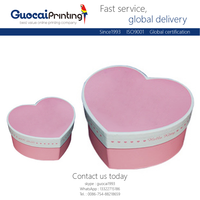 OEM logo heart shape wrapping pink paper box gift, paper perfume box with satin inside for choose