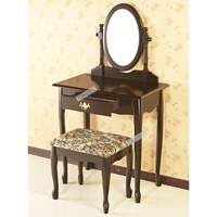 Black Vanity Makeup Set, Stool & Mirror new