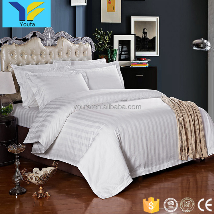 Guangzhou supplies 100% cotton 3 cm stripe bed sheets bedding set luxury hotel bed linen