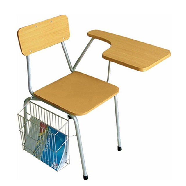 Classroom Tablet Chair with Hanging Metal Book Basket for Students
