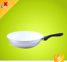 2015 Hot sale bakelite handle white ceramic wok with induction base cookware