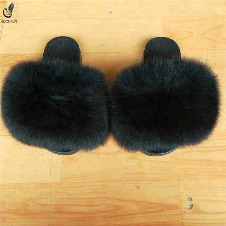 ALICEFUR Wholesale real fur slides sandals women fluffy fox fur slides