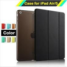 PU Leather Stand Case for iPad Air 1 with Magnetic Ear Tape Tablet Cover For iPad 5 with Smart Sleep / Wake Up