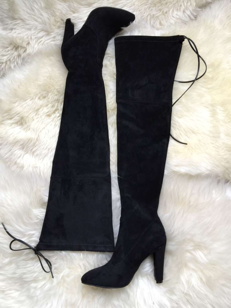 O11-1 fur leather women shoes thigh high pretty nice boots