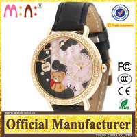 MN924 quartz goldlis watch distributors and wholesalers 3D bear design nato watch straps